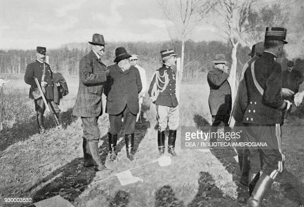 King Gustav V of Sweden with the French President Armand Fallieres hunting at Rambouillet Castle, November 24 France, from L'Illustrazione Italiana,...
