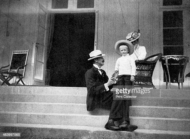 King Haakon VII of Norway his son Olav the future King Olav V and Princess Victoria at Bygdøy Norway 1908 From Queen Alexandra's Christmas Gift Book...