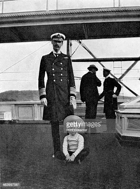 King Haakon VII of Norway with his son Olav the future King Olav V 1908 From Queen Alexandra's Christmas Gift Book Photographs from My Camera by...