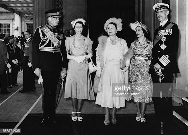 King Haakon VII, Queen Maud, Princess Elizabeth, Princess Margaret, the Duke of Gloucester are in Buckingham Palace, on June 5, 1951 in London,...