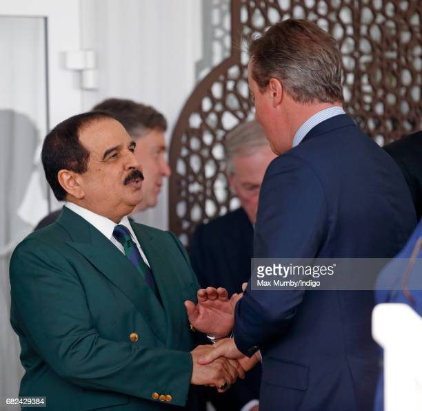 King Hamad bin Isa Al Khalifa of Bahrain and former Prime Minister David Cameron attend the Endurance event on day 3 of the Royal Windsor Horse Show...