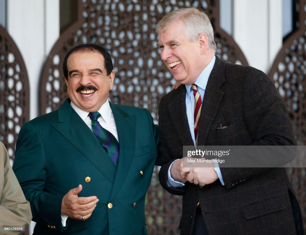 King Hamad bin Isa Al Khalifa of Bahrain and Prince Andrew, Duke of York attend the Endurance event on day 3 of the Royal Windsor Horse Show in Windsor Great Park on May 12, 2017 in Windsor, England.