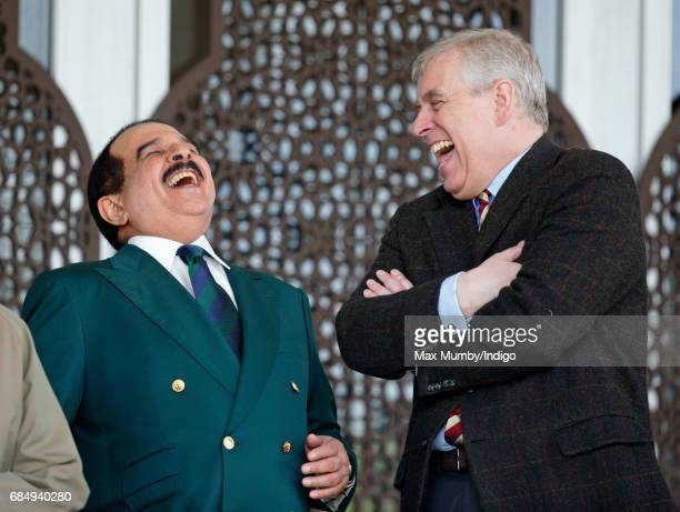 King Hamad bin Isa Al Khalifa of Bahrain and Prince Andrew Duke of York attend the Endurance event on day 3 of the Royal Windsor Horse Show in...
