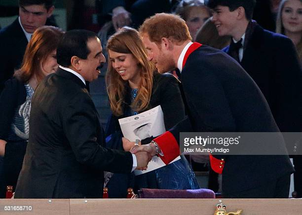 King Hamad bin Isa Al Khalifa of Bahrain and Prince Harry attend the final night of The Queen's 90th Birthday Celebrations being held at the Royal...