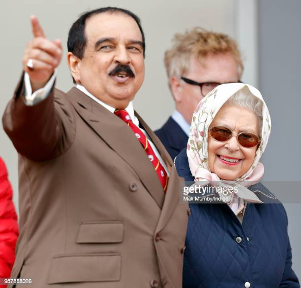 King Hamad bin Isa Al Khalifa of Bahrain and Queen Elizabeth II attend the Royal Windsor Endurance event in Windsor Great Park on day 3 of the Royal...