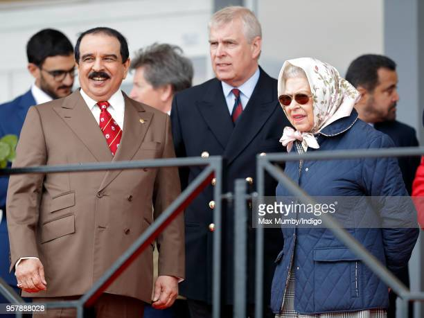 King Hamad bin Isa Al Khalifa of Bahrain, Prince Andrew, Duke of York and Queen Elizabeth II attend the Royal Windsor Endurance event in Windsor...