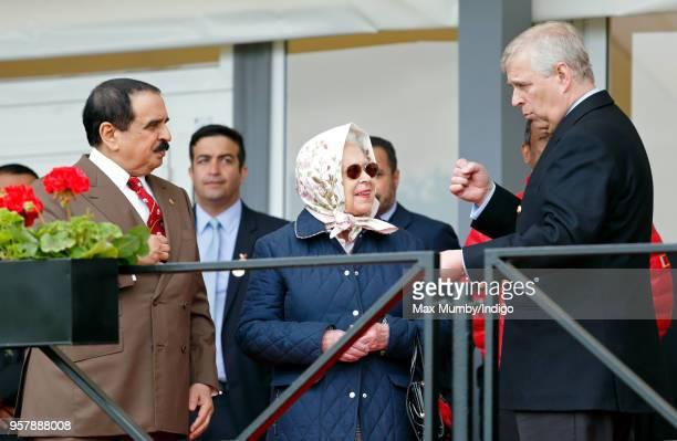 King Hamad bin Isa Al Khalifa of Bahrain, Queen Elizabeth II and Prince Andrew, Duke of York attend the Royal Windsor Endurance event in Windsor...