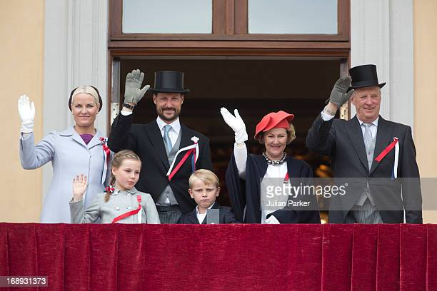 King Harald and Queen Sonja and Crown Prince Haakon and Crown Princess MetteMarit of Norway Prince Sverre Magnus and Princess Ingrid Alexandra watch...