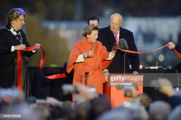 King Harald and Queen Sonja attend the opening of the new Munch museum on October 22, 2021 in Oslo, Norway.