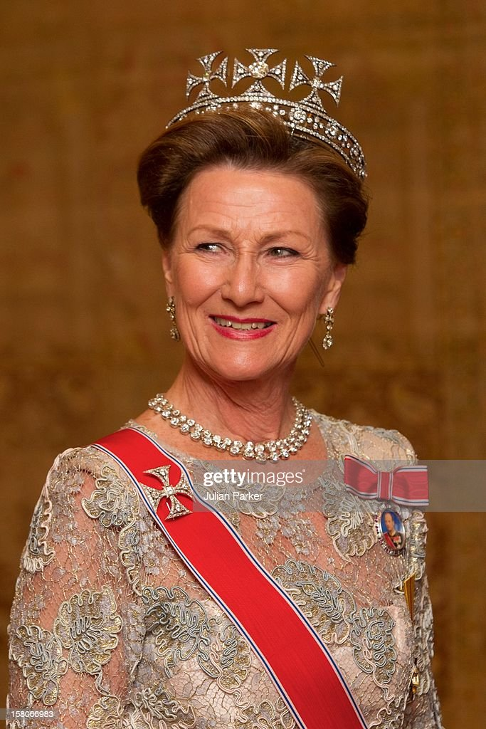 King Harald, And Queen Sonja Of Norway Attend A State Dinner At Brdo Castle Hosted By The President Of Slovenia, And His Wife, Barbara Miklic Turk During A Two Day State Visit To Slovenia.