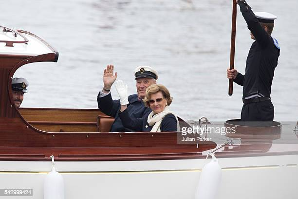 King Harald and Queen Sonja of Norway on a visit to Bergen during the King and Queen of Norway's Silver Jubilee Tour on June 25 2016 in Bergen Norway