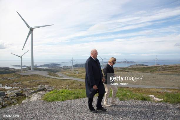 King Harald and Queen Sonja of Norway on the second day of a three day visit to the county of Sor Trondelag visit the municipality of Roen on June 5...