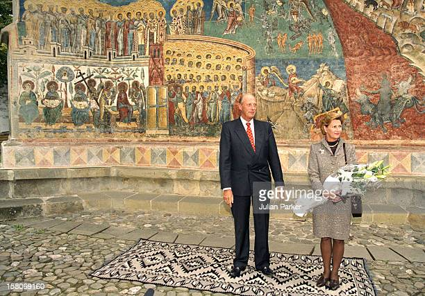 King Harald And Queen Sonja Of Norway State Visit To Romania Visit A Monastery For Nuns At Voronet In The Provence Of Moldavia