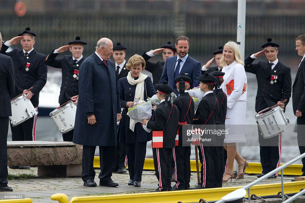 King Harald, and Queen Sonja of Norway,Crown Princess Mette-Marit, and Crown Prince Haakon of Norway, on a visit to Bergen, during the King and Queen of Norway's Silver Jubilee Tour, on June 25, 2016 in Bergen, Norway.