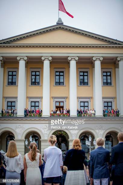 King Harald and Queen Sonja with their family and European royal guests attend the official Gala dinner at the Royal Palace on May 9 2017 in Oslo...