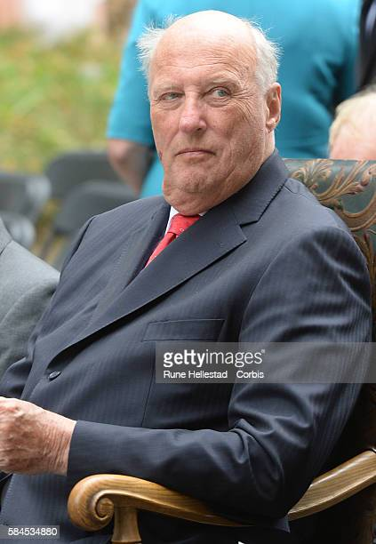 King Harald attends a ceremony for the 1000th anniversary of Sarpsborg on July 29 2016 in Sarpsborg Norway