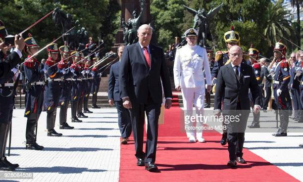 King Harald of Norway and Argentina's Foreign Affairs Minister Jorge Faurie attend a ceremony honouring Jose de San Martin at Plaza San Martin on...