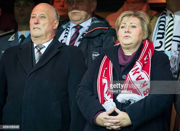King Harald of Norway and Prime Minister Erna Solberg attend the Norwegian Cup Final at Ullevaal Stadion on November 23 2014 in Oslo Norway