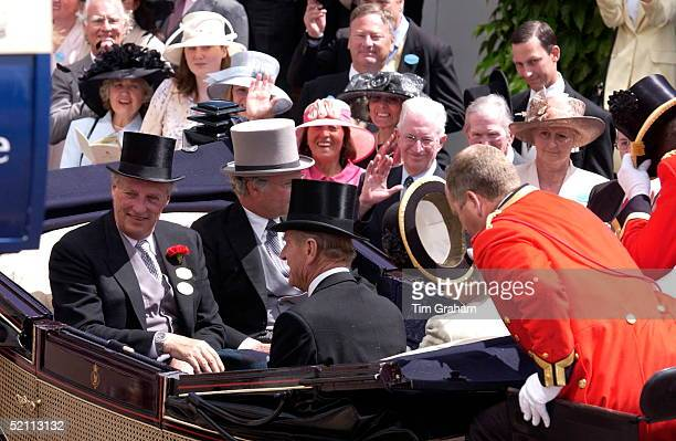 King Harald Of Norway And Prince Philip In The Carriage Procession At Royal Ascot Races They Are Wearing Traditional Top Hats And Tails