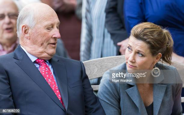 King Harald of Norway and Princess Martha Louise of Norway attend the unveiling of Norwegian Trekking Association gift for The Queen of Norway 80th...
