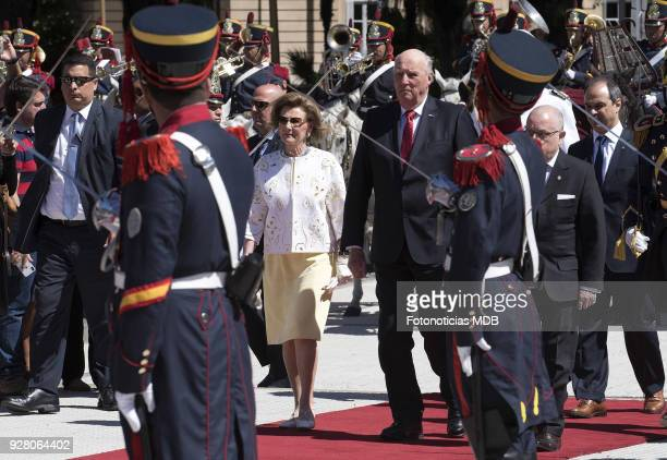 King Harald of Norway and Queen Sonja of Norway attend a ceremony honouring Jose de San Martin at Plaza San Martin on March 6 2018 in Buenos Aires...