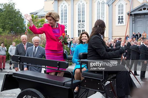 King Harald of Norway and Queen Sonja of Norway host King Carl Gustaf and Queen Silvia of Sweden on their official visit to Norway on June 19 2013 in...