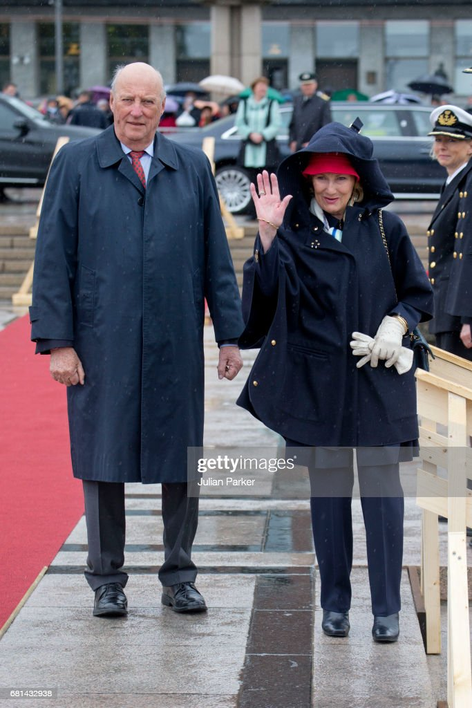 King Harald of Norway and Queen Sonja of Norway leave to host a lunch on the Norwegian Royal Yacht 'Norge' as part of the celebrations of their 80th Birthdays on May 10, 2017 in Oslo, Norway.
