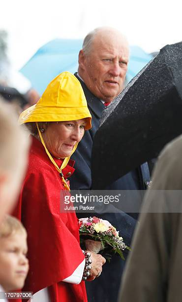 King Harald of Norway and Queen Sonja of Norway visit Harstad during King Carl Gustaf and Queen Silvia Of Sweden's official visit on June 18 2013 in...