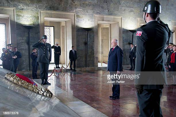 King Harald of Norway and Queen Sonja of Norway visit the Ataturk Mausoleum on day one of thier State visit to Turkey on November 5 2013 in Ankara...