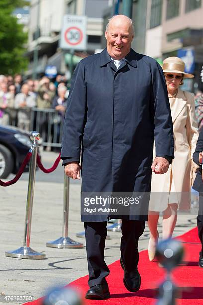 King Harald of Norway attends the unveiling of a statue of King Olav V at the City Hall Square on June 7 2015 in Oslo Norway