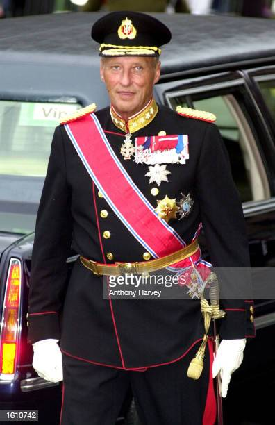King Harald of Norway attends the wedding of his son, Norwegian Crown Prince Haakon, and Mette-Marit Tjessem Hoiby August 25, 2001 at the Oslo...