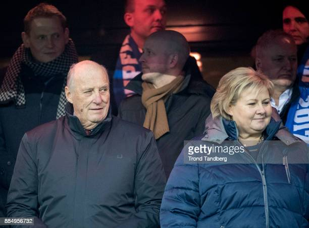King Harald of Norway Prime Minister Erna Solberg of Norway attend the Norway Cup Final between Sarpsborg 08 v Lillestrom at Ullevaal Stadion on...