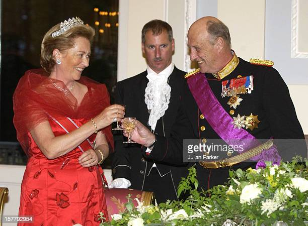 King Harald Of Norway & Queen Paola Of Belgium Attend A State Banquet At The Laeken Palace, Near Brussels, During A Norwegian State Visit To Belgium.