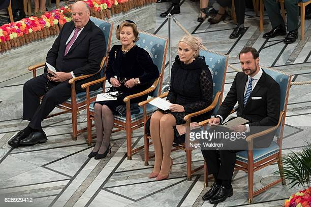 King Harald of Norway, Queen Sonja of Norway and Crown Princess Mette Marit of Norway, Crown Prince Haakon of Norway attend the Nobel Peace Prize...