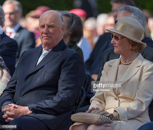 King Harald of Norway Queen Sonja of Norway attend the unveiling of a statue of King Olav V at the City Hall Square on June 7 2015 in Oslo Norway