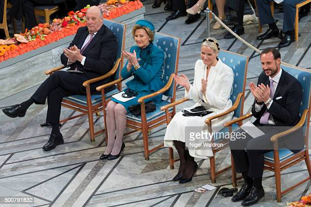 King Harald of Norway Queen Sonja of Norway Crown Princess Mette Marit of NorwayCrown Prince Haakon of Norway attend the Nobel Peace Prize ceremony...