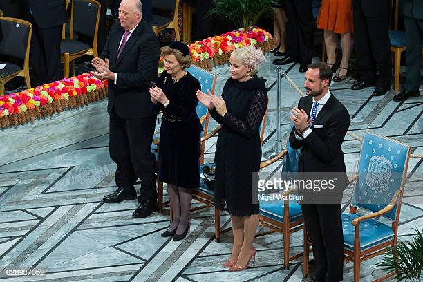 King Harald of Norway, Queen Sonja of Norway, Crown Princess Mette Marit of Norway and Crown Prince Haakon of Norway attend the Nobel Peace Prize...