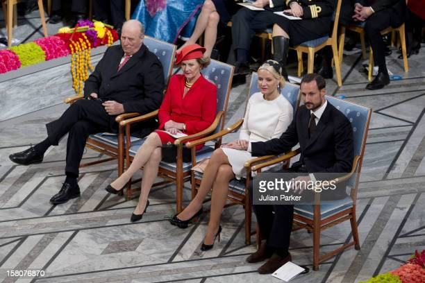 King Harald Queen Sonja Crown Prince Haakon And Crown Princess MetteMarit Of Norway Attend The Nobel Peace Prize Ceremony At Oslo City Hall Crown...