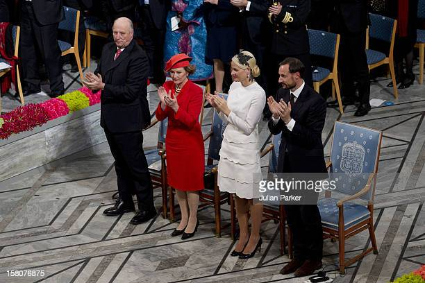 King Harald, Queen Sonja, Crown Prince Haakon, And Crown Princess Mette-Marit Of Norway Attend The Nobel Peace Prize Ceremony, At Oslo City Hall....