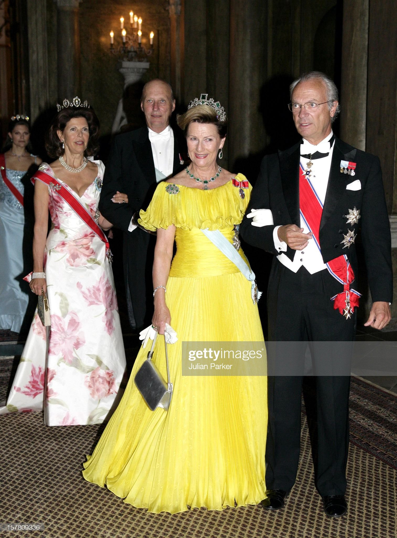 King Harald, Queen Sonja & Crown Prince Haakon Of Norway Visit Sweden : News Photo