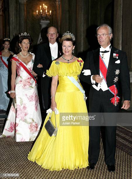King Harald Queen Sonja Crown Prince Haakon Of Norway Visit SwedenGala Dinner At The Royal Palace In Stockholm With King Carl Gustav Queen Silvia...