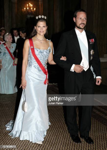 King Harald, Queen Sonja & Crown Prince Haakon Of Norway Visit Sweden.Gala Dinner At The Royal Palace In Stockholm With King Carl Gustav, Queen...