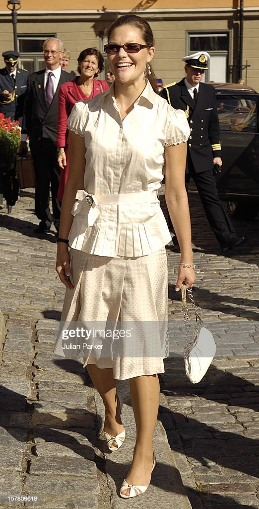 King Harald, Queen Sonja & Crown Prince Haakon Of Norway Visit Sweden.Visit To The Nobel Museum In Stockholm Accompanied By Queen Silvia & Crown Princess Victoria.