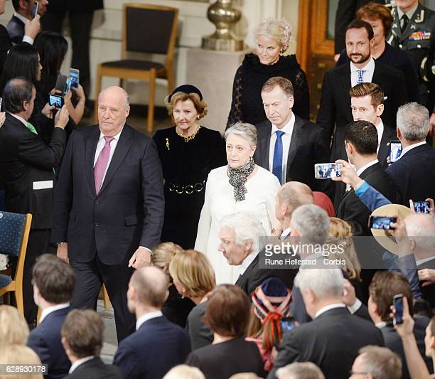 King Harald, Queen Sonja, Crown Princess Mette Marit and Crown Prince Haakon of Norway attend the Nobel Peace Prize ceremony at Oslo City Town Hall...