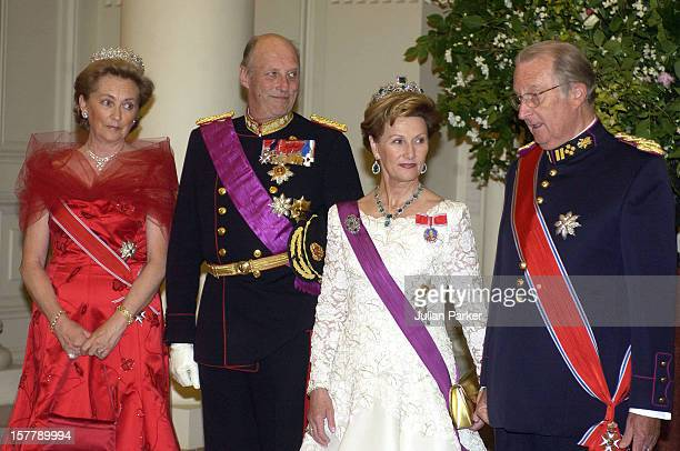 King Harald Queen Sonja Of Norway And King Albert Queen Paola Of Belgium Attend A State Banquet At The Laeken Palace Near Brussels During A Norwegian...