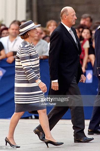 King Harald Queen Sonja Of Norway Attend The Wedding Of Infanta Cristina Of Spain And Inaki Urdangarin At Barcelona Cathedral
