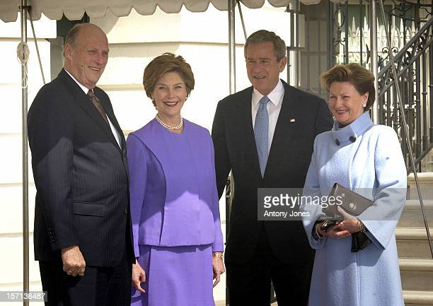 King Harald Queen Sonja Of Norway Visit WashingtonMeeting With President George W Bush His Wife Laura At The White House