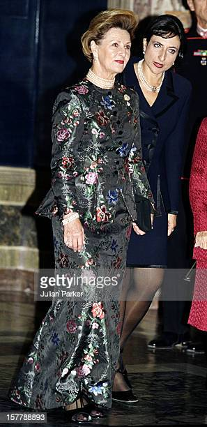 King Harald Queen Sonja Of Norway'S Visit To ItalyState Dinner At The Quirinale Palace In Rome With President Carlo Azeglio Ciampi Wife Franca Pilla