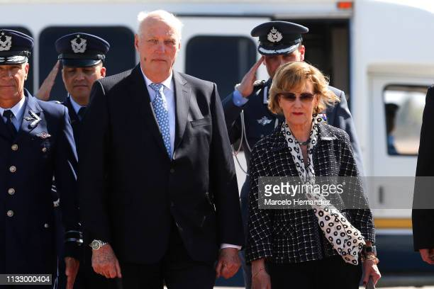 King Harald V and Queen Sonja of Norway arrive at Arturo Merino Benítez International Airport during Day 1 of their visit to Chile on March 26 2019...