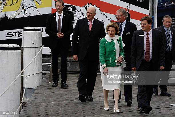 King Harald V and Queen Sonja of Norway arrive to view the 'Kathleen Gillett Ketch' at the Australian National Maritime Museum on February 24 2015 in...